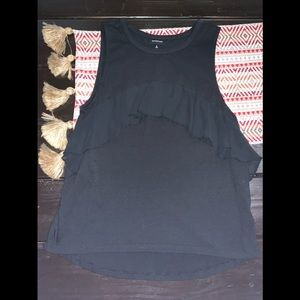 Who what wear black ruffle tank top small